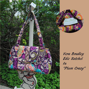 "VERA BRADLEY Edie Satchel in ""Plum Crazy"" EUC"